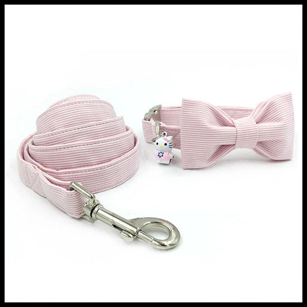 Pink & Pastels Collar, Bow Tie & Lead Set