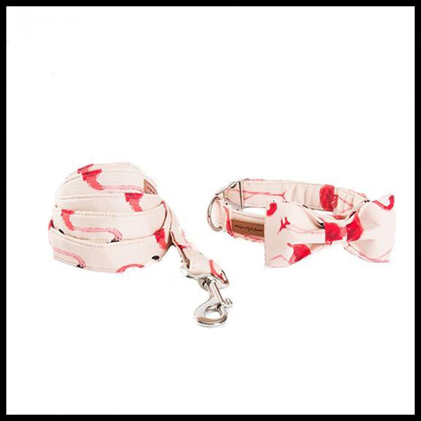 Pretty Flamingos Collar, Bow Tie & Lead Set