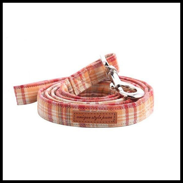 Rustic Plaid Collar, Bow Tie & Lead Set
