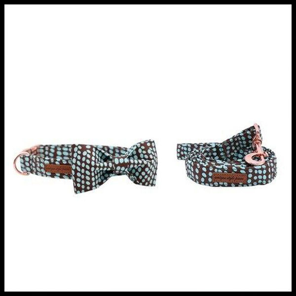Spot of Mint Collar, Bow Tie & Lead Set
