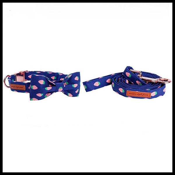 Strawberry Kisses Collar, Bow Tie & Lead Set
