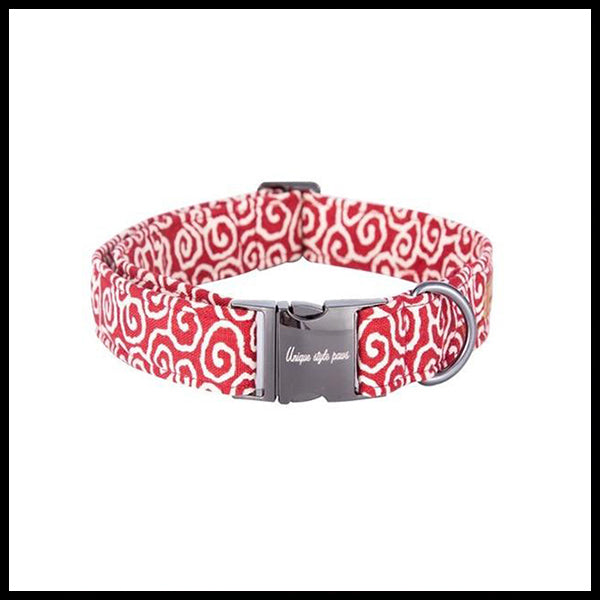 Swirly Redness Collar, Bow Tie & Lead Set