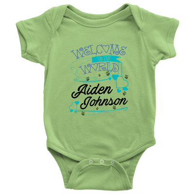 Welcome To The World Boy Personalized Baby Onesie (Blue)