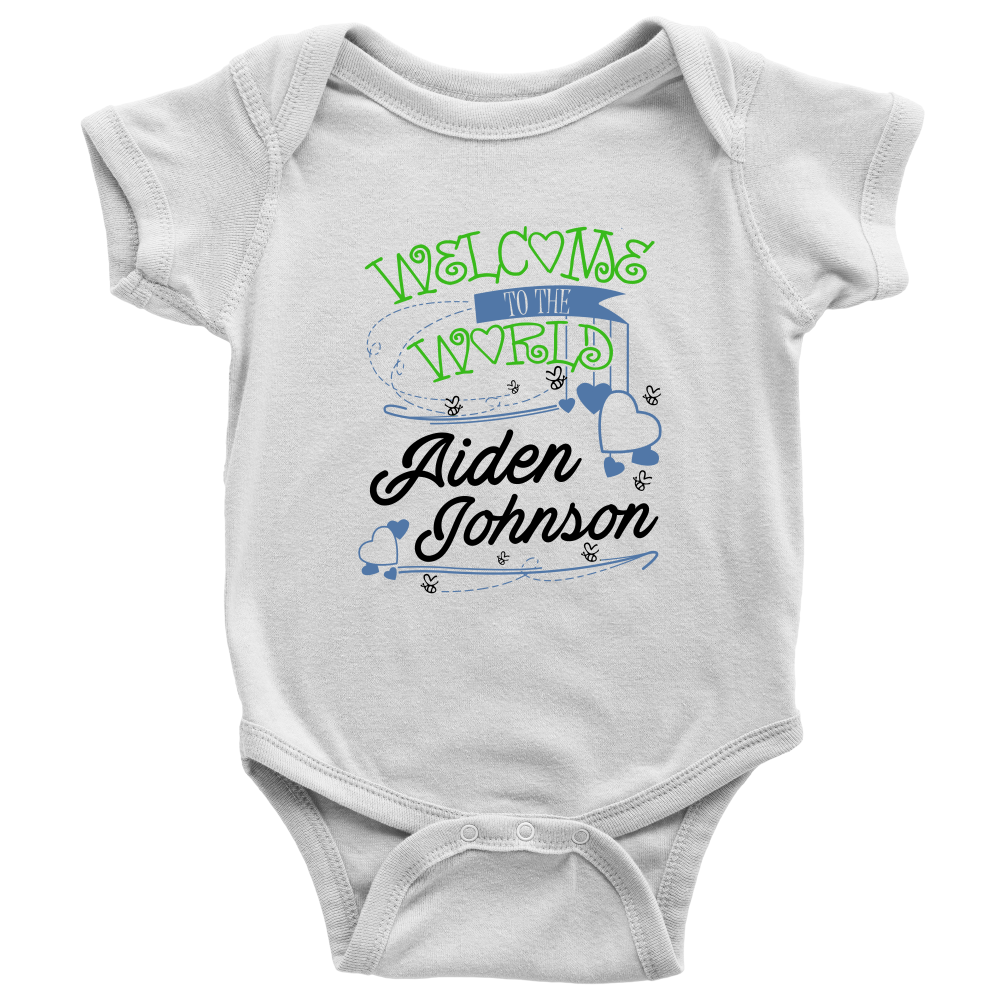Welcome To The World Boy Personalized Baby Onesie (Green ...