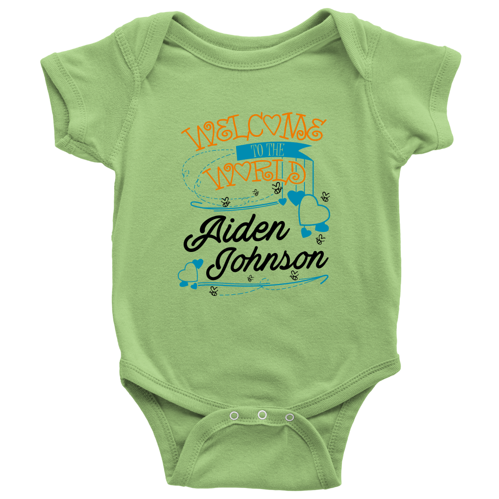 Welcome To The World Boy Personalized Baby Onesie (Orange) - Goods ...