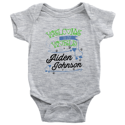Welcome To The World Boy Personalized Baby Onesie (Green)
