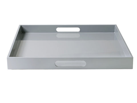 LAQUER TRAY SQUARE LARGE COOL GREY