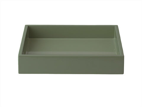 LAQUER TRAY SQUARE AGAVE GREEN