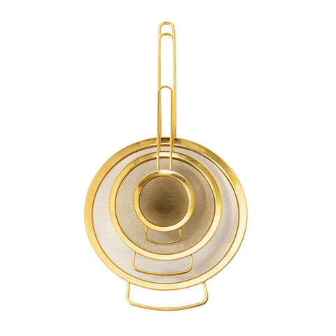 GOLD STRAINER SET OF 3