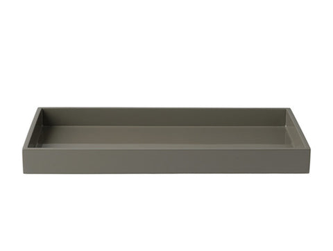 LAQUER TRAY RECTANGLE STEEPLE GREY