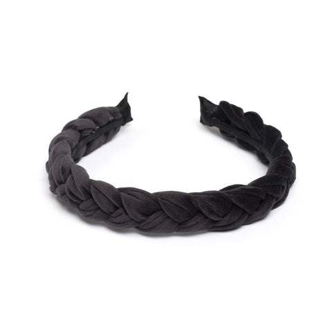 VELVET HAIR BAND BRAIDED CHARCOAL