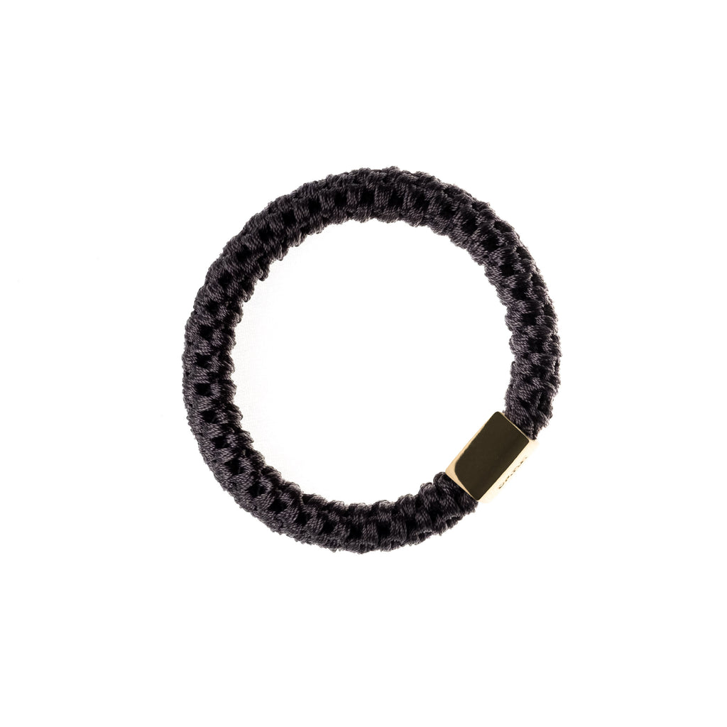 FAT HAIR TIE CHARCOAL W. GOLD PLATE – Treasure Box 67c67fc33c7