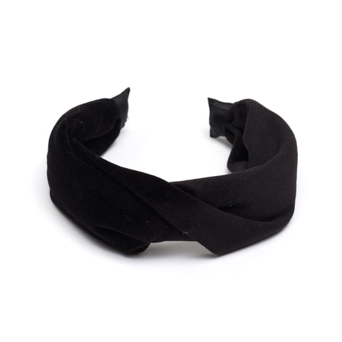 VELVET HAIR BAND FOLDED BLACK