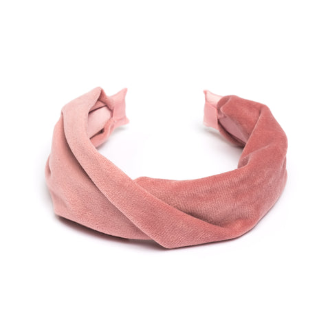 VELVET HAIR BAND FOLDED BLUSH ROSE