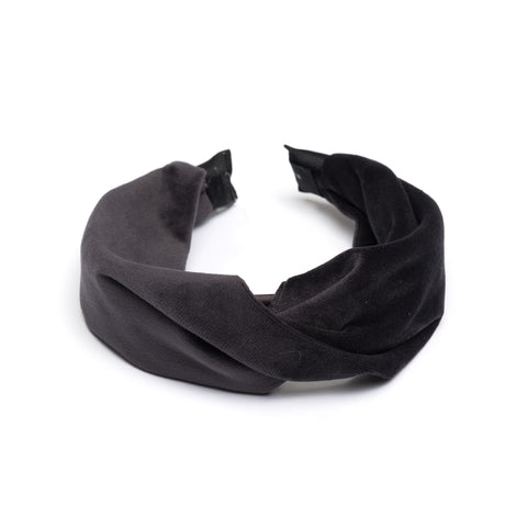 VELVET HAIR BAND FOLDED CHARCOAL