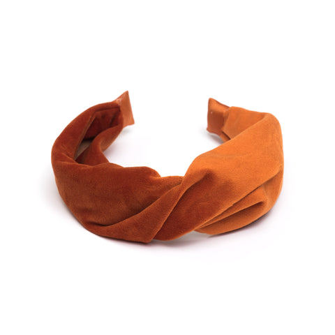 VELVET HAIR BAND FOLDED COPPER
