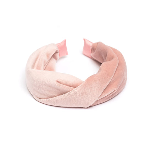 VELVET HAIR BAND FOLDED PALE ROSE