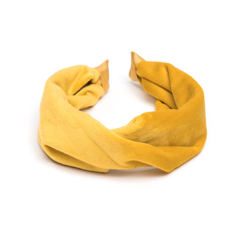 VELVET HEADBAND FOLDED YELLOW