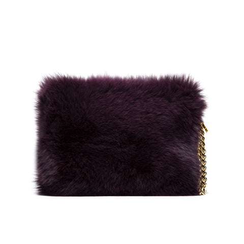 FOX FUR BAG PLUM