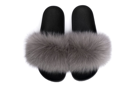 FOX FUR SLIPPERS GREY