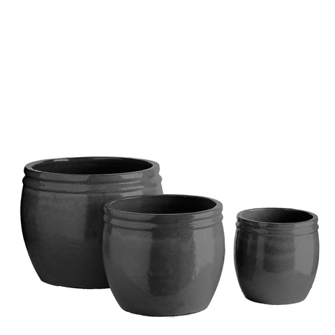 CERAMIC POT BLACK SET OF 3