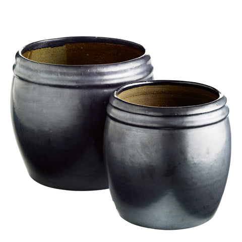 CERAMIC POT BLACK SET OF 2 L