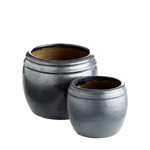 CERAMIC POT BLACK SET OF 2 M