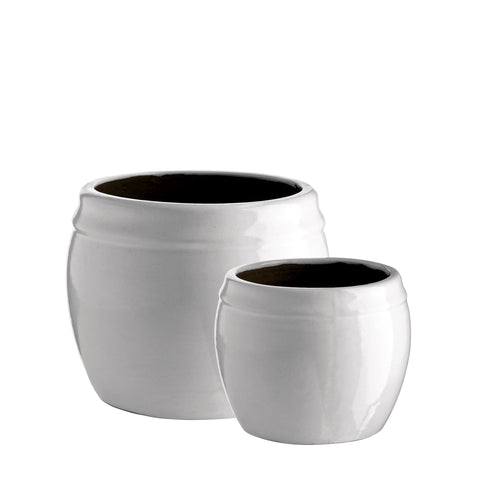CERAMIC POT WHITE SET OF 2 M
