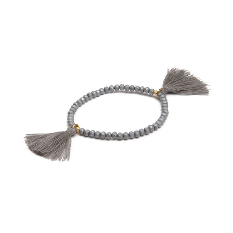 TASSEL BRACELET GLASS BEADS MATTE SILVER W/GREY