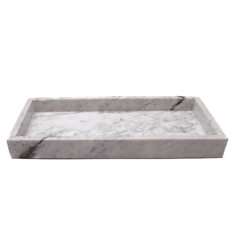 WHITE MARBLE TRAY L