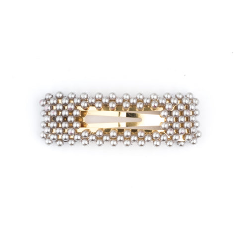 PEARL HAIR CLIP SQUARE LIGHT GREY