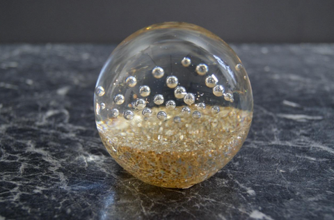 GLASS PAPERWEIGHT W. GOLD BUBBLES