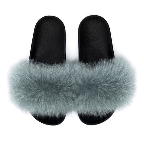 FOX FUR SLIPPERS DUSTY TEAL