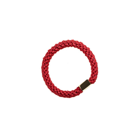 FAT HAIR TIE RED W. GOLD PLATE