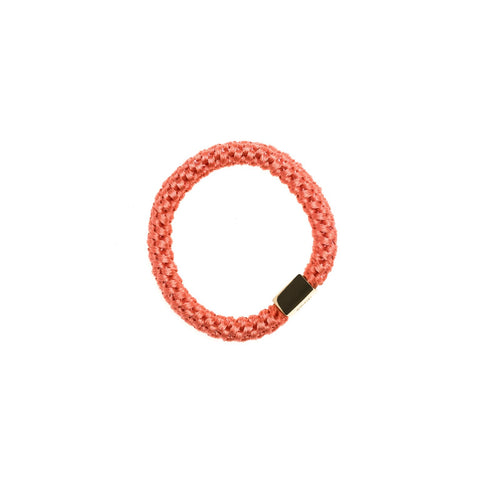 FAT HAIR TIE DUSTY CORAL W. GOLD PLATE