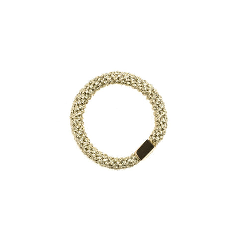 FAT HAIR TIE GOLD W. GOLD PLATE