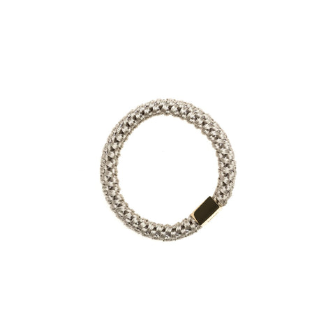 FAT HAIR TIE LIGHT GREY W. GOLD PLATE