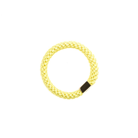FAT HAIR TIE SUMMER YELLOW W. GOLD PLATE
