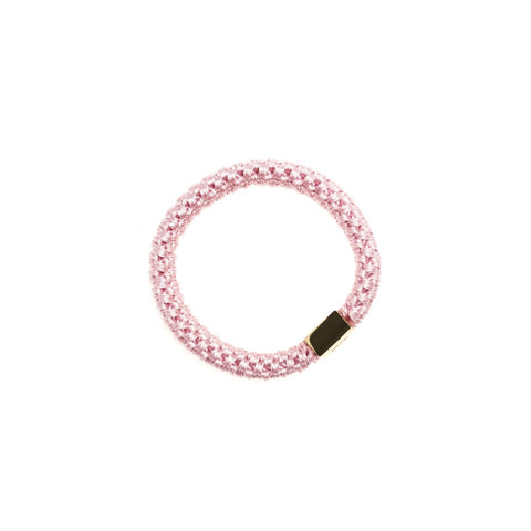 FAT HAIR TIE BLUSH ROSE W. GOLD PLATE