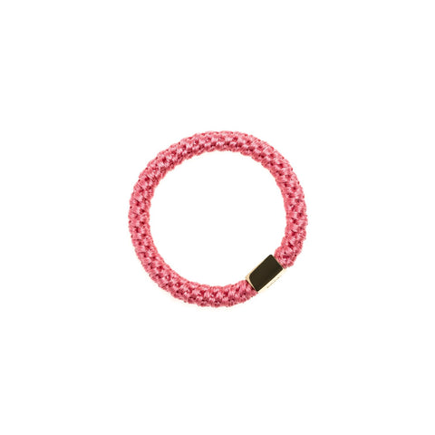 FAT HAIR TIE CANDY PINK W. GOLD PLATE