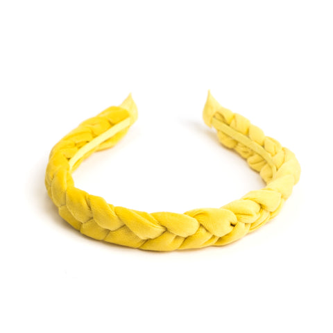 VELVET HEADBAND BRAIDED SUN YELLOW
