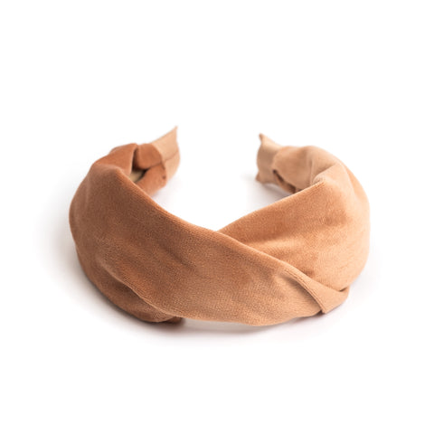 VELVET HAIR BAND FOLDED CAMEL