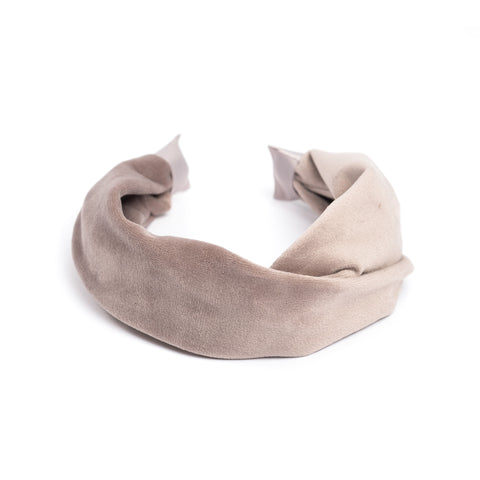 VELVET HAIR BAND FOLDED TAUPE