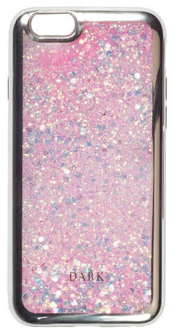 IPHONE COVER PINK/SILVER W. LIQUID GLITTER