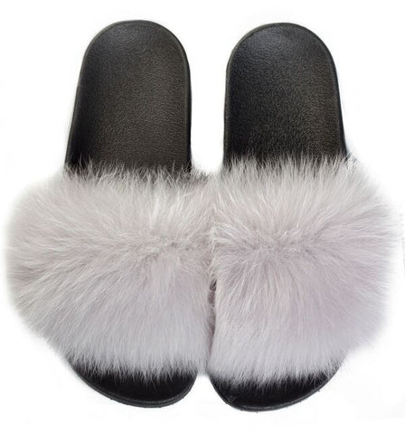FOX FUR SLIPPERS LIGHT GREY