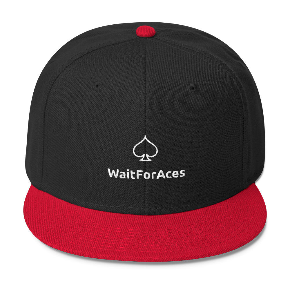 Wool Blend Snapback White Logo Wait for Aces