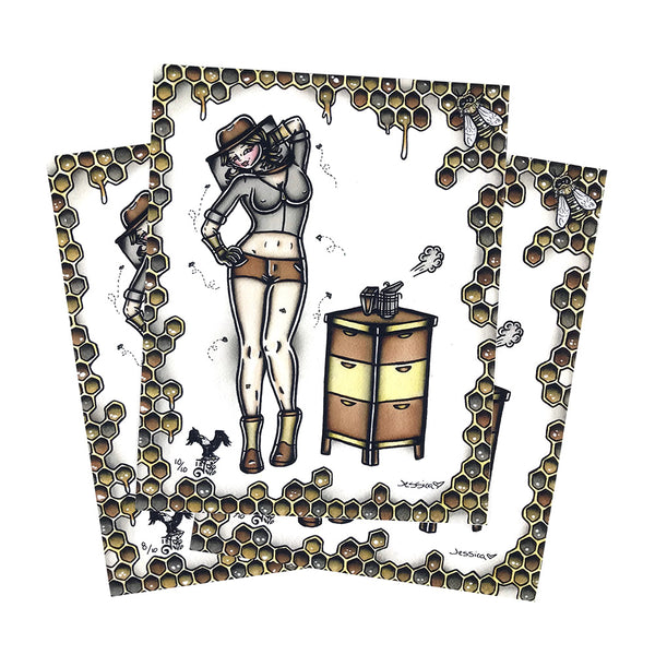 American traditional tattoo flash sexy beekeeper pinup prints.