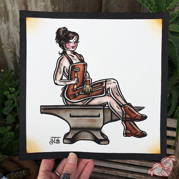 American Traditional tattoo style blacksmith pinup painting.