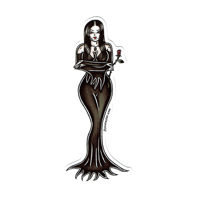 American Traditional tattoo flash sexy Morticia Addams pinup sticker.