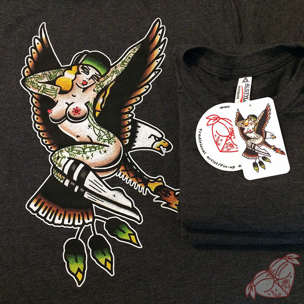 Tattoo style eagle and pinup on heather charcoal shirt.